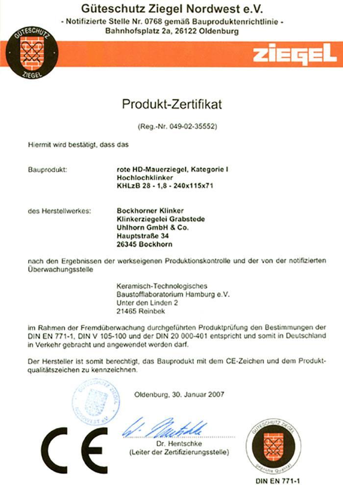 Produkt-Zertifikat